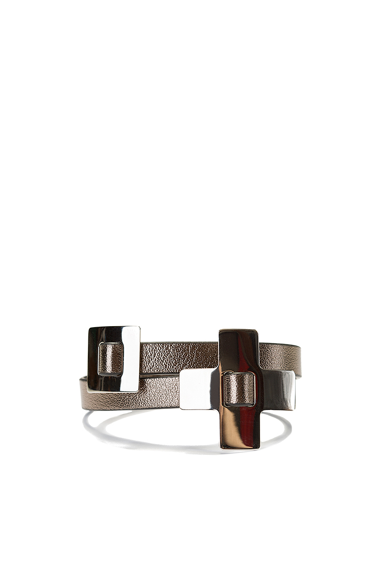Palladium-plated wraparound leather bracelet LIA image 0